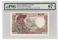 "France 50 Francs Banknote 1941 Pick# 93 PMG Superb Gem UNC 67 EPQ ""Vintage"""