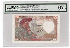 """France 50 Francs Banknote 1941 Pick# 93 PMG Superb Gem UNC 67 EPQ """"Vintage"""""""