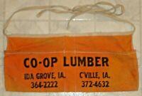Vintage CO-OP Lumber Ida Grove & C'ville, Iowa Carpenters Advertising Nail Apron