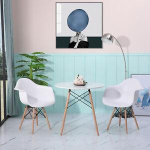 Esstisch mit 2er Esszimmerstühlen Weiß Küchenstuhl Runder Tisch Esstischsessel