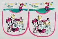 Lot Of 2 Brand New Disney Minnie Mouse Baby Bibs: Hello Sun Shine