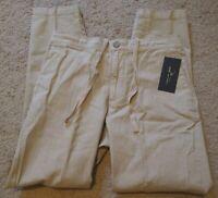 Marc Anthony Men's Linen Elastic Back Luxury Slim 260 Tan Drawstring 32x32 Pants