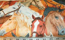 """30"""" Western Horse Novelty Fabric Horseshoe Bend Country Large Horses Print"""
