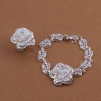 Fashion 925 Silver plated flower women cute Ring Bracelet set Jewelry wedding