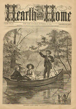 Romance, Gathering Autumn Leaves, Row Boat, Vintage, 1871 Antique Art Print,