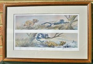 Border Terrier and Cat Limited Edition Print 'Lucky Dip' by Mick Cawston 200/850
