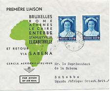 """2415 BELGIEN 1953 extrem selt.Erstflug SABENA """"´BRUXELLES - ENTEBBE, Uganda"""""""