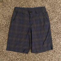 Lululemon Mens Kahuna Shorts Medium Size 32 Blue Plaid Casual Golf EUC