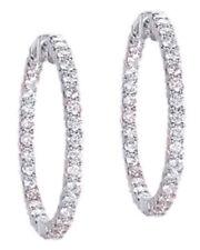 "4.00 carat Round cut Diamond 14k Gold HOOP Earrings 80 x 0.05 ct each, 1.5"""