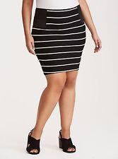 Torrid Striped Ponte Elastic Sides Mini Skirt Black/White 1X 14 16 1 #97352