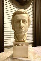 "Alexander Backer Chopin Vintage Chalkware Bust Statue Classical Composer 11"""