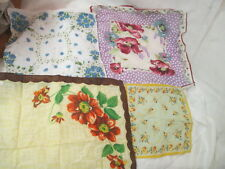 Vintage Handkerchiefs 3 cotton printed Flowers 1 Silk Forget Me Not