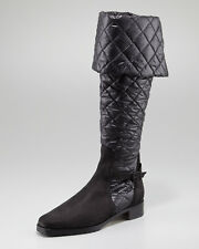 $1445 Manolo Blahnik Women's Black Morrow Quilted Boot Size 38 1/2 UK 5.5 US 8.5
