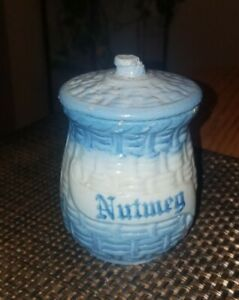 Antique 1900's Blue White Basket Weave MORNING GLORY Stoneware Spice Jar~NUTMEG!