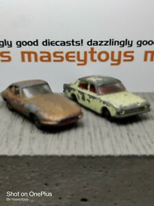 Matchbox Lesney Pair Ford Corsair, Jaguar E Type. Original Vintage Diecast