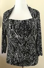 Kenneth Cole Size XL 14 16 Jewel Neckline Stretch Top Career Blouse Black White