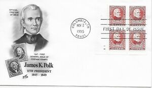 US Scott #2587, First Day Cover 11/2/95 Columbia Plate Block James K Polk