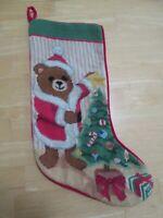 Christmas Hand Stitched Vintage Stocking - Teddy Bear Christmas Tree