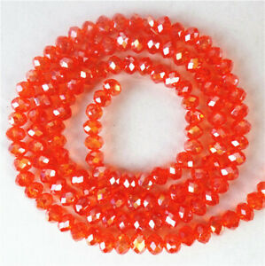 """1 Strand 4x3mm Orange Red Crystal Glass Faceted Wheel Loose Beads 15.5"""" BB4674*"""