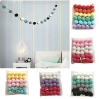 30pcs Wool Felt Balls Handmade Garland Pom Pom Nursery Room Hanging String Decor