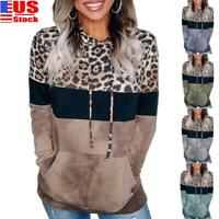 Women's Ladies Leopard Hoodies Sweatshirt Casual Hooded Jumper Tops Pullover USA