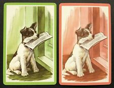 Pair of Vintage Swap/Playing Cards - CUTE DOGS WITH NEWSPAPERS - Mint