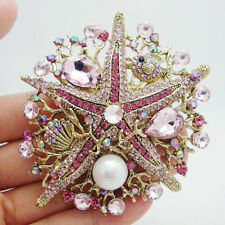 Fashion Starfish Pink Rhinestone Crystal Pearl Gold-tone Brooch Pin Pendant