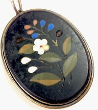 Antique Victorian Large Pietra Dura Agate Mourning Hair / Pearl Locket Pendant