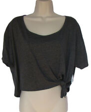 FOREIGN EXCHANGE Size L Dark Gray Knit Cropped Top NWT Ties At  Side