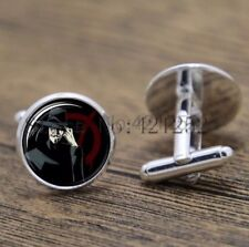 Cufflinks Glass Silver V For Vendetta New & Sealed