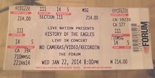 Eagles Band History Concert Unused Ticket Los Angeles Forum 1/22/14 Glenn Frey