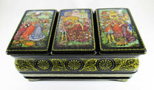 "Russian Lacquer box Mstera ""Cinderella"" Hand Painted Jewelry Author's work #68"