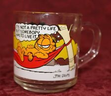 "Vtg 1978 Garfield & Odie Glass Coffee Cup/Mug McDonalds ""It's Not a Pretty Life"""