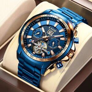 Automatic Mechanical Tourbillon Sapphire Luxury Men's Watch Waterproof Stainless