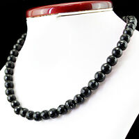 355.00 CTS NATURAL EXCLUSIVE RICH BLACK SPINEL ROUND CUT BEADS NECKLACE STRAND