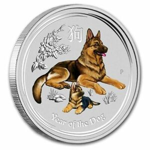 2018 2 oz..Silver $2 Year of the Dog Colorized Australia Coin Brilliant UNC