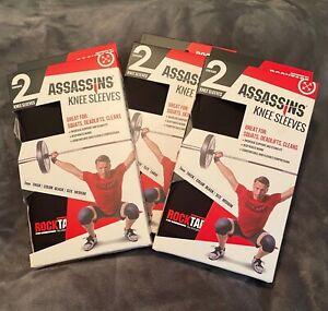 2 RockTape Assassins Knee Sleeves 7mm Cross Fit Weight Training Black Small