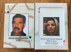 TWO ORIGINAL  DECK OPENED Most Wanted Iraq Playing Cards w/ small poster