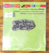"""STAMPENDOUS  """"SEEK HIM"""" CLING RUBBER SENTIMENT STAMP CRL251 - NEW"""