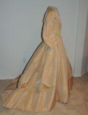 Civil War Era Victorian ca 1860's Tan Silk 2PC Dress w Train SM