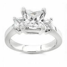 Princess Engagement White Gold VVS1 Fine Diamond Rings