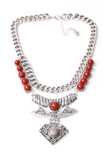 Great Silver Big Chain Necklace w Claret Beads&Three Ornamental Plates (T204)