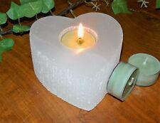 La Selenite Cuore Tea Light portacandele. CRISTALLO NATURALE BELLISSIMA Luce Incandescente