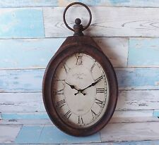 French Vintage Style Metal & Glass Oval Wall Clock Paris 1885