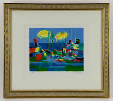 MARCEL MOULY Pencil SIGNED & NUMBERED LITHOGRAPH CUBIST Abstract Boats