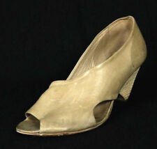 MARSELL Oat Beige Leather Asymmetrical Open Toe Cut Out Sandals 38