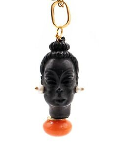 CORLETTO BLACKAMOOR 18 KT GOLD CARVED EBONY FACE WITH CORAL & SEED PEARLS