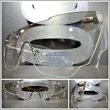 RETRO SHIELD Style SUN GLASSES Rimless Frame Flat Clear Lens Slight Mirror Tint