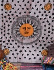 Sun Moon Star Tapestry Boho Celestial Wall Hanging Psychedelic Cotton Bedspread