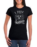 I Love My Maltipoo Dog 100% Ringspun Cotton Womens Crew Neck T-shirt